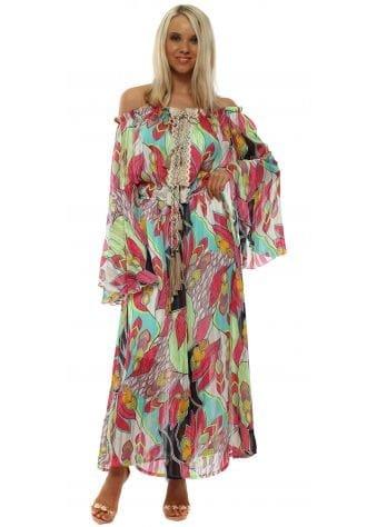 Green Print Bell Sleeve Bardot Maxi Dress