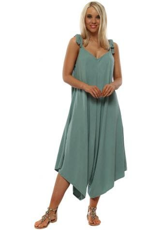 Green Relaxed Tie Top Culottes Jumpsuit