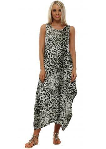 Green Cheetah Print Jersey Parachute Dress