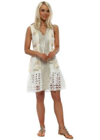Ivory Mirrored Floral Tassle Mesh Hem Dress