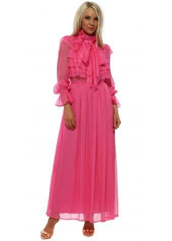 Pink Frill Pussybow Chiffon Maxi Dress
