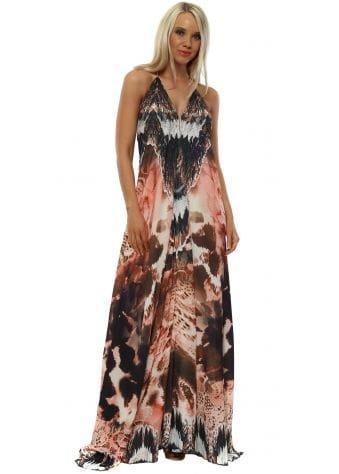Pink Big Leopard Low Back Maxi Dress