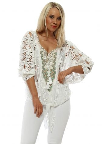 White Lace Crochet Beaded Tie Top