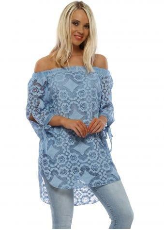Blue Cotton Floral Bardot Top