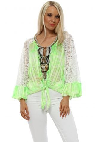 Neon Lime Lace Sleeve Beaded Tie Top
