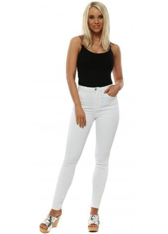 White Stretch Fit High Waisted Jeans