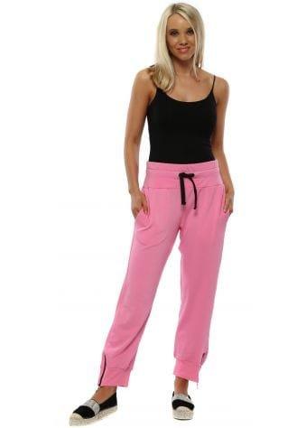 Bubblegum Pink Cleo Zip Side Sweat Pants