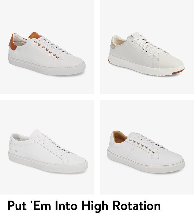 Put them into high rotation: men's white sneakers.