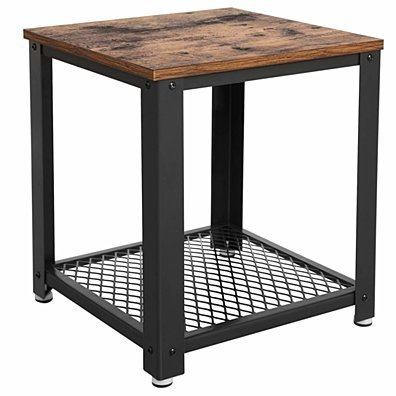 Metal Frame End Table with Wooden Top and Wide Mesh Bottom Shelf, Brown and Black