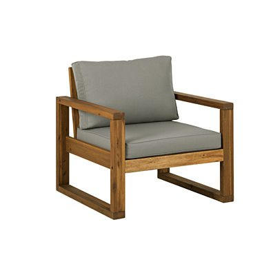Open Side Chair and Ottoman with Cushions - Brown