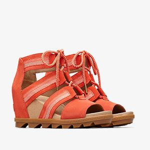 Coral colored wedges on a white background