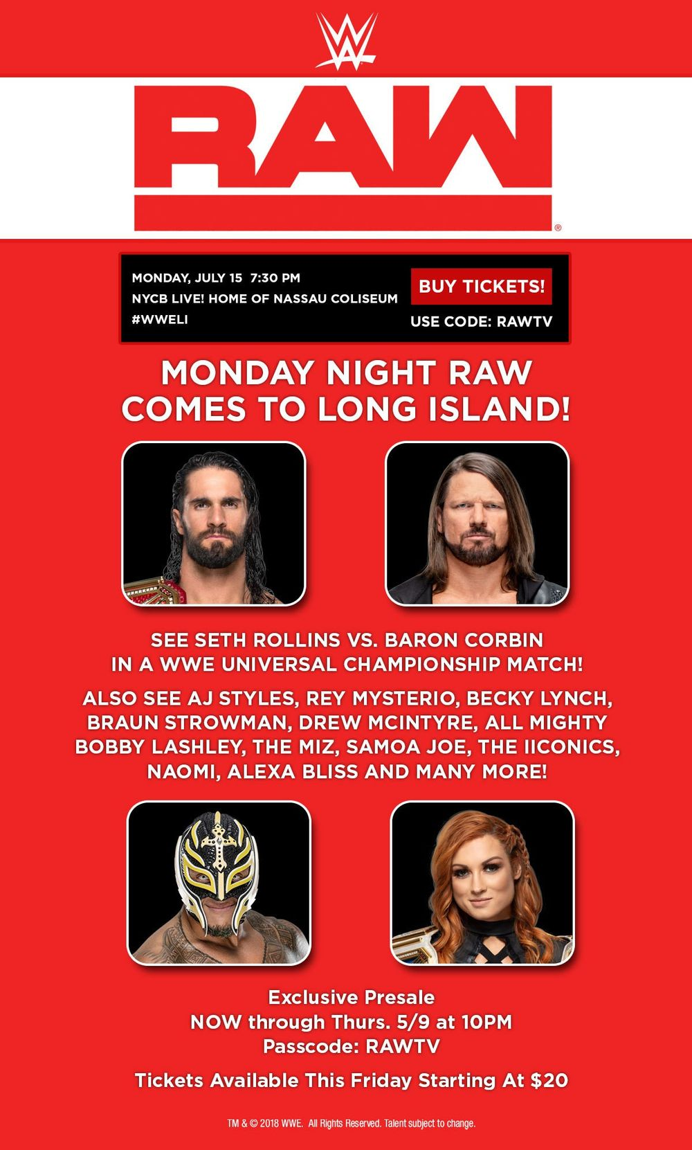 WWE Shop: LONG ISLAND! Here is your presale offer for Monday