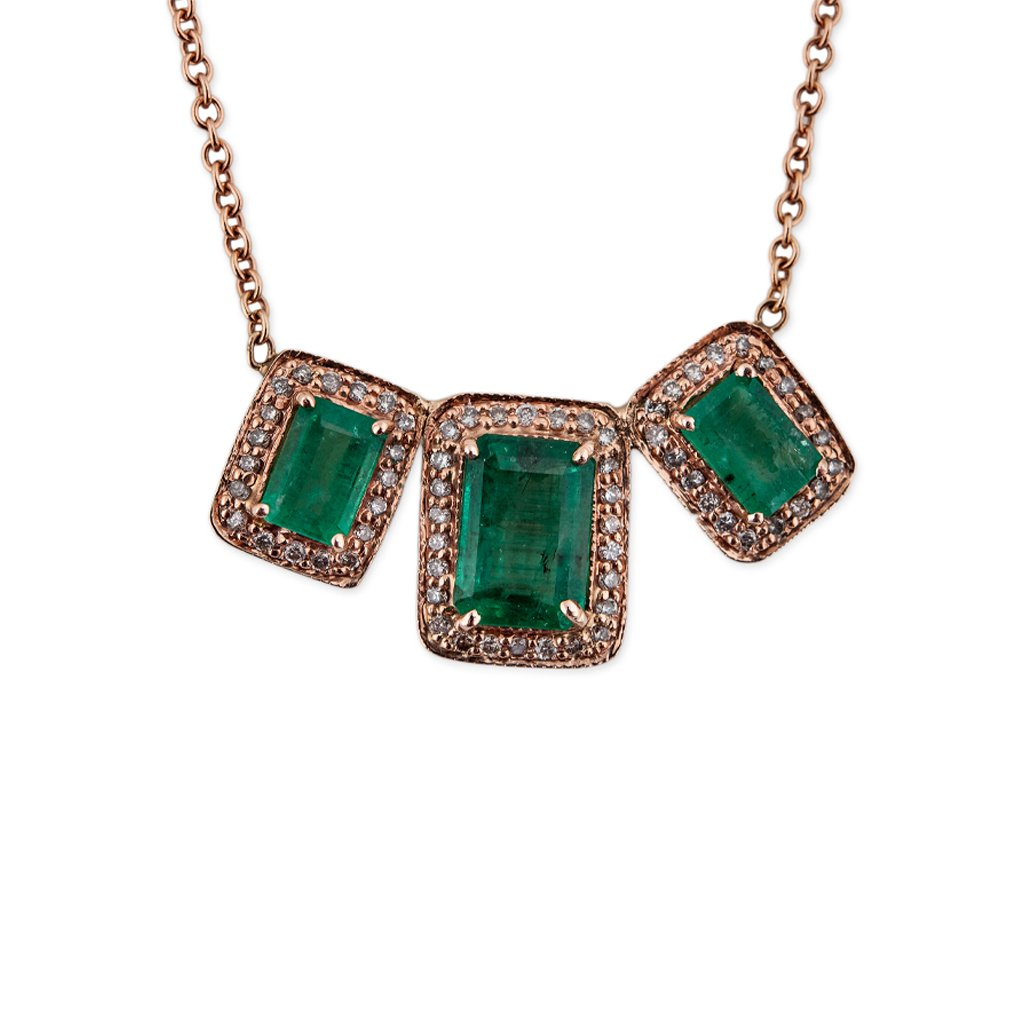 Image of 3 EMERALD BAGUETTE NECKLACE