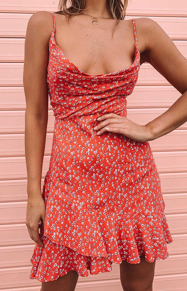 Rosa Dress Coral Red Floral