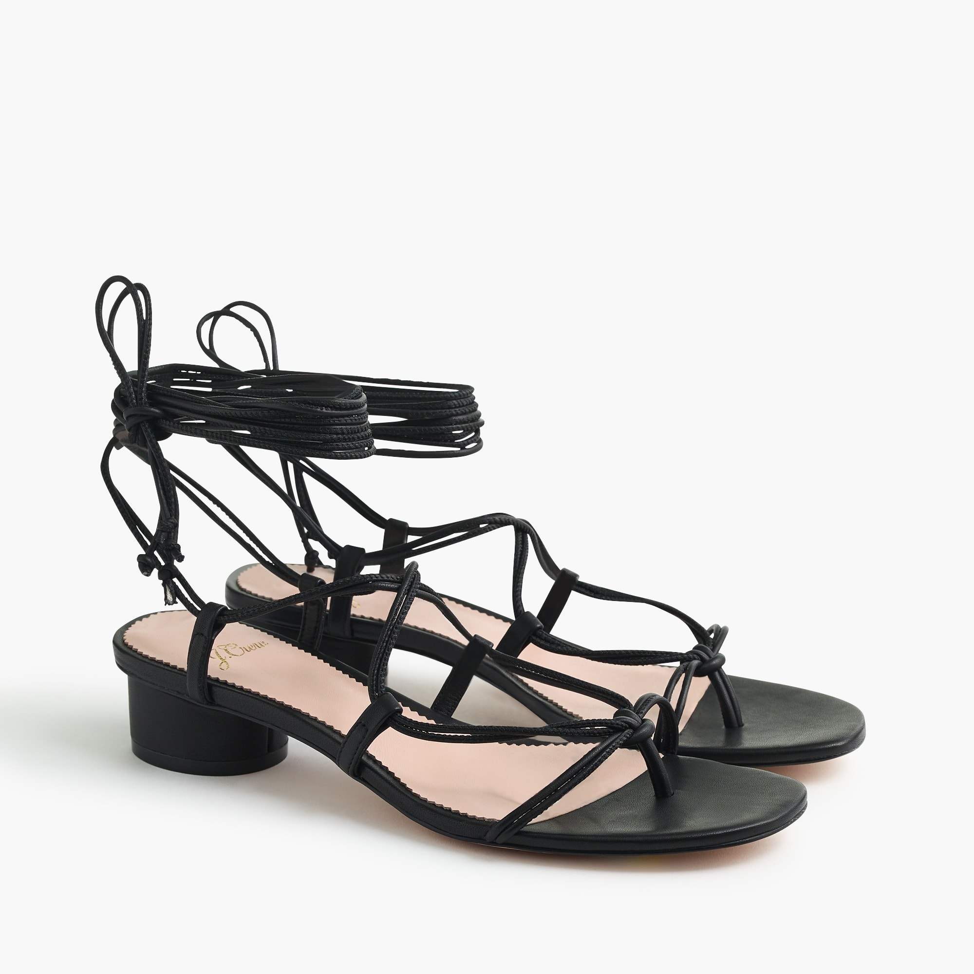 Lace-up strappy sandals in black leather