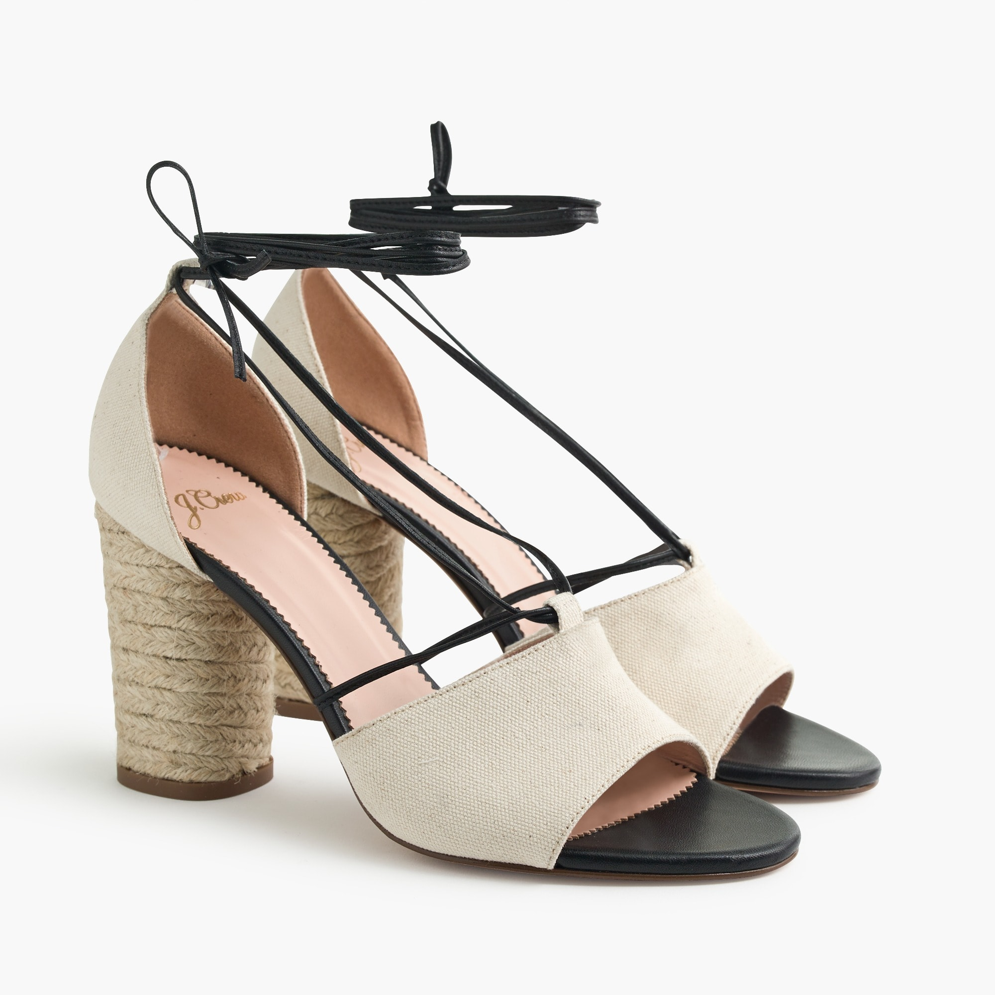 Stella heels in canvas with leather tie straps