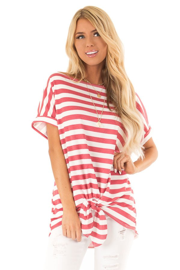 b31a293bc5e ... Button Up Top, Raspberry Striped Off the Shoulder Top with Front Tie