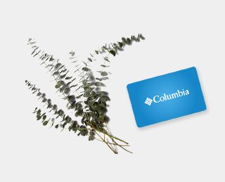 A eucalyptus branch and a gift card.