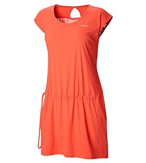 Womens Peak to Point Dress in coral