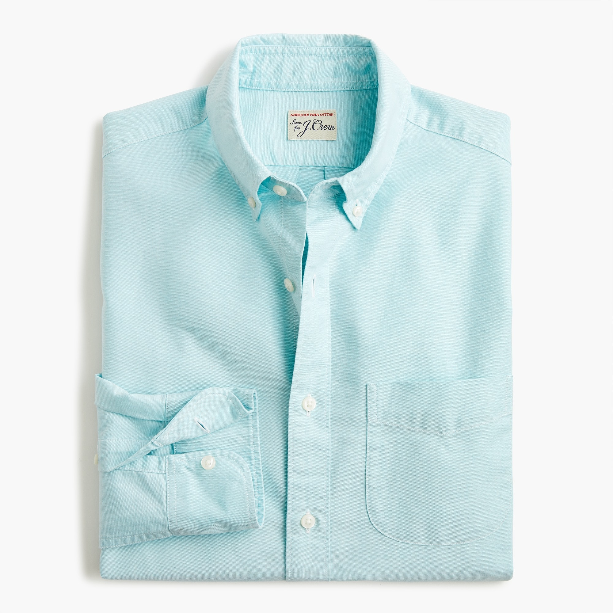Slim American Pima cotton oxford shirt with mechanical stretch