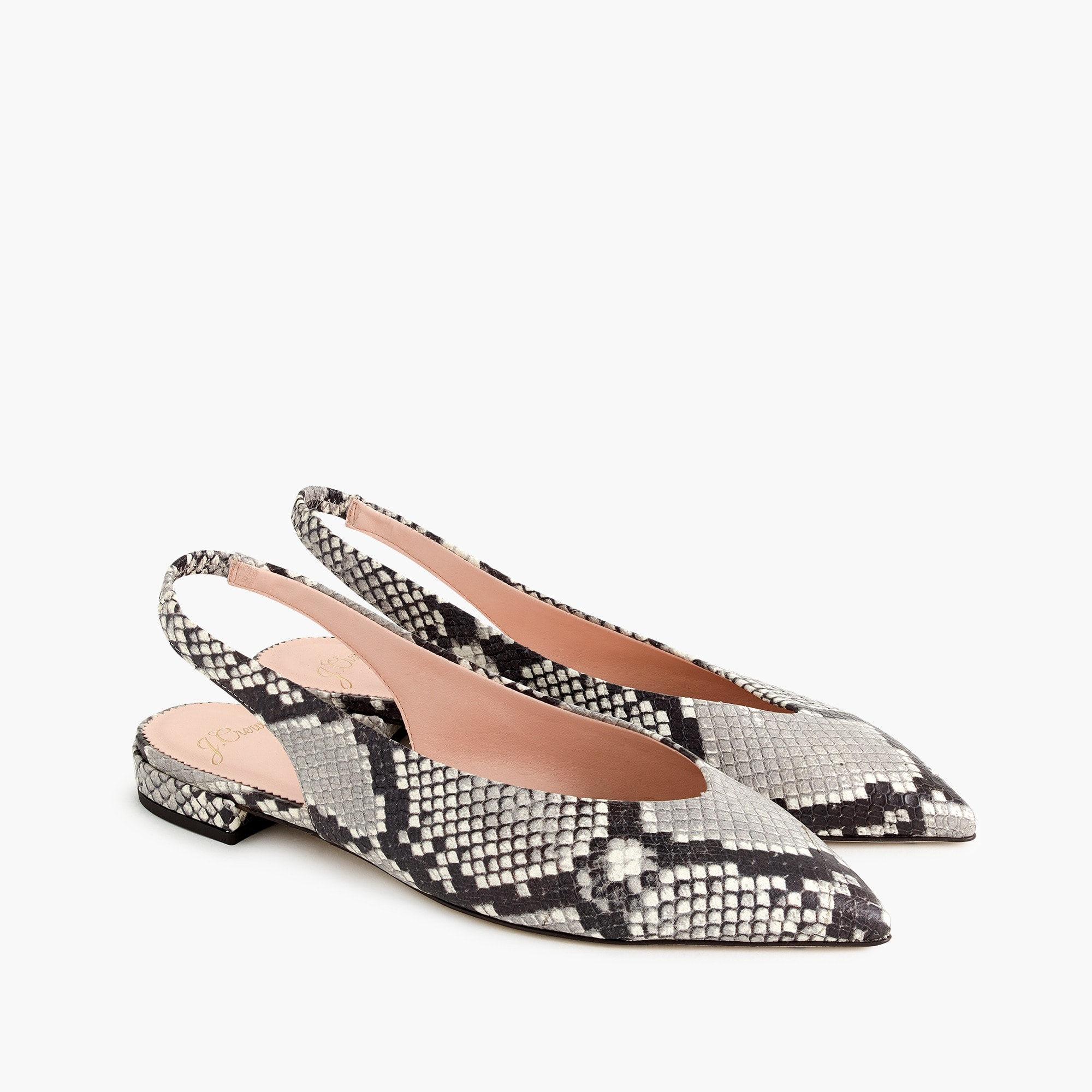 Pointed-toe slingback flats in faux snakeskin