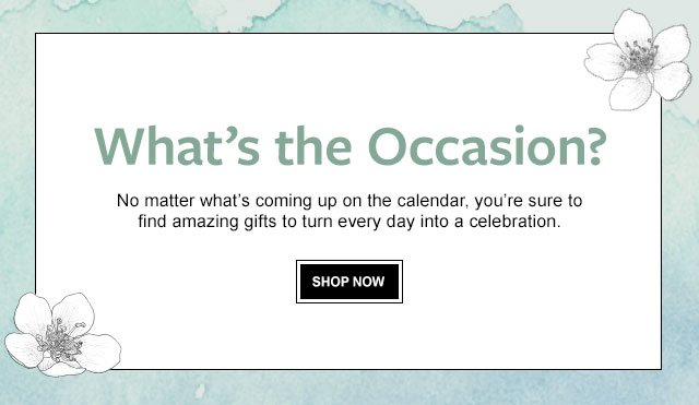 What's the Occasion? - No matter what's coming up on the calendar, you're sure to find amazing gifts to turn every day into a celebration.