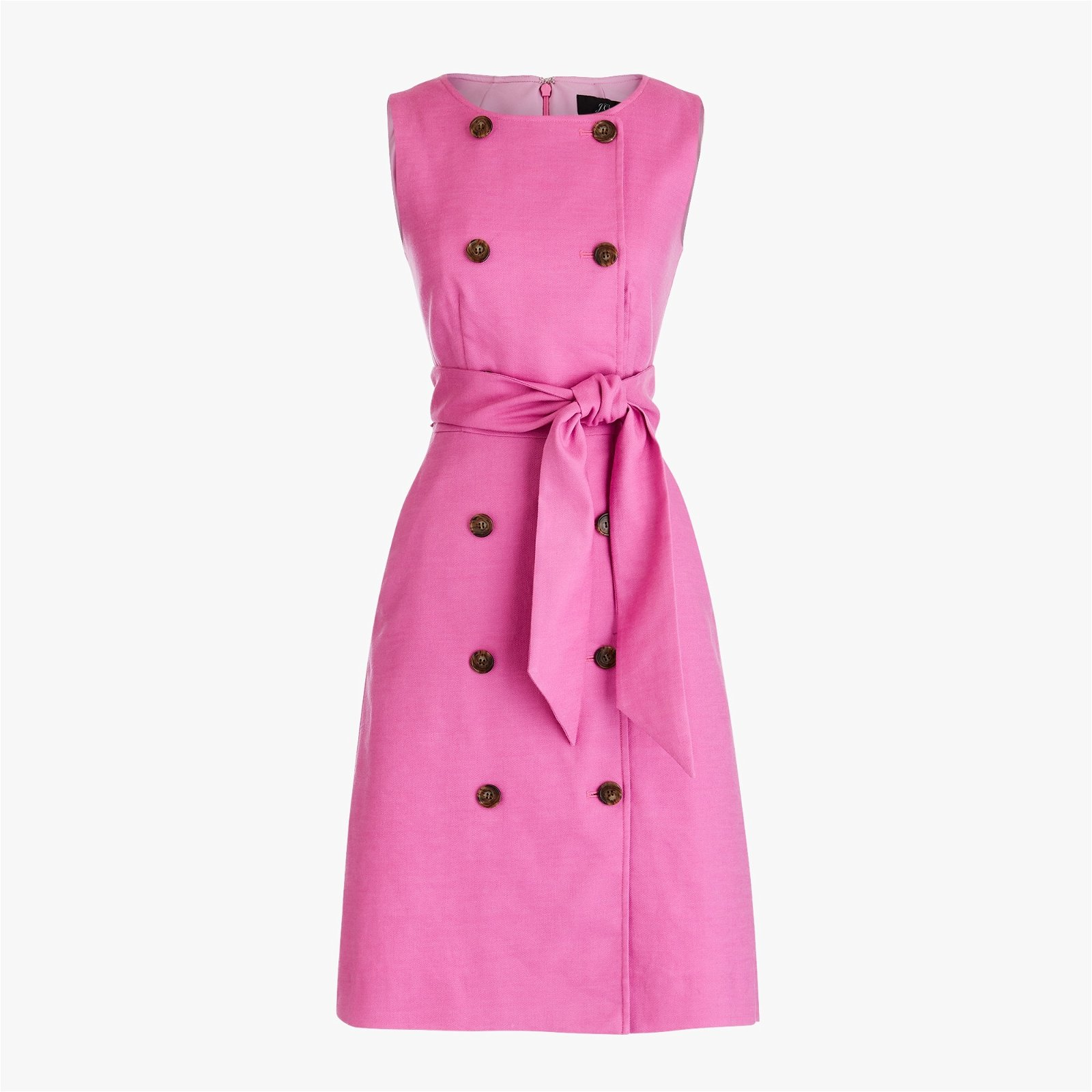 Classic Double-breasted sleeveless sheath dress in stretch linen