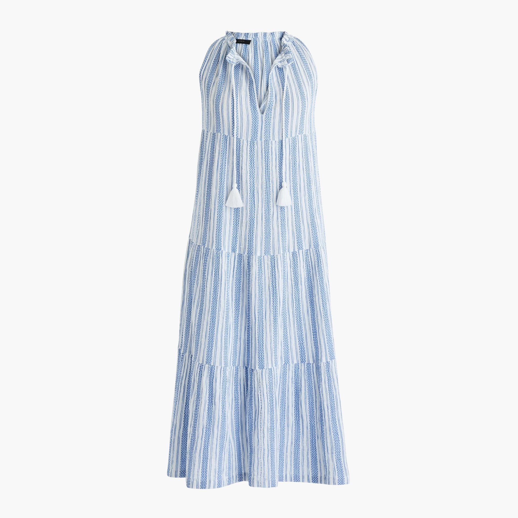 Tiered maxi dress in textured stripe