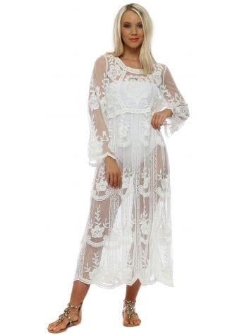 White Floral Lace Maxi Beach Dress