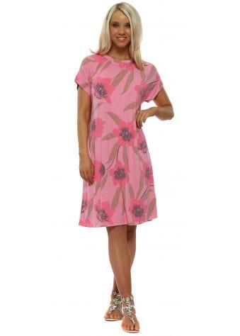 Flis Petal Pink Floral T-Shirt Dress