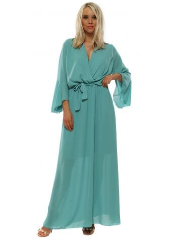 Mint Green Wrap Maxi Dress