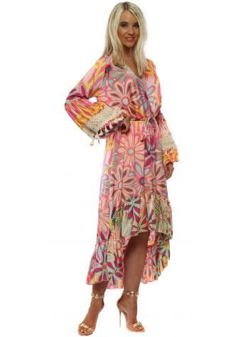 Pink Floral Long Sleeve High Low Dress