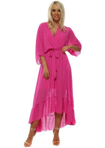 Pink High Low Plunge Belted Maxi Dress