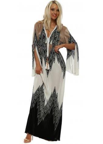 Black Zig Zag Pleated Maxi Dress