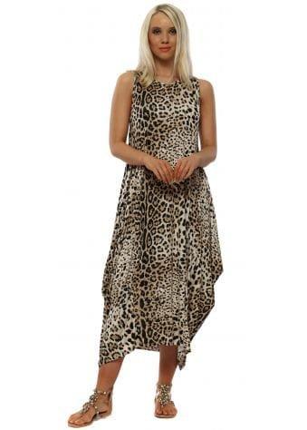 Beige Cheetah Print Parachute Dress