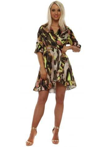 Khaki Neon Leopard Frill Wrap Dress