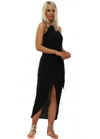 Black Ribbed Wrap Bodycon Dress