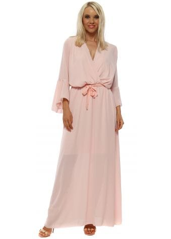 Baby Pink Wrap Maxi Dress