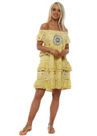 Yellow Bardot Layered Lace Crystal Beach Dress