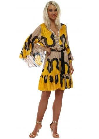 Yellow & Mocha Print Beaded Neckline Dress