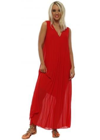 Red Pleated Sleeveless Maxi Dress