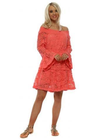 Coral Floral Lace Bardot Skater Dress