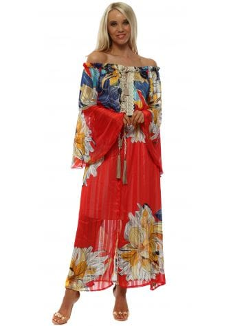Red & Blue Print Bell Sleeve Bardot Maxi Dress