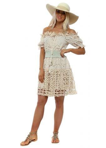 Beige Broderie Anglaise Bardot Dress