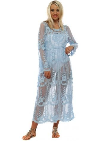 Baby Blue Floral Lace Maxi Beach Dress