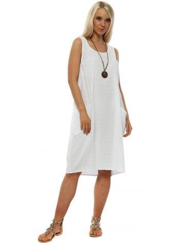 White Cotton Casual Necklace Dress