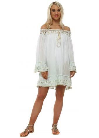 Aqua Dip Dye Cotton Relaxed Beach Dress