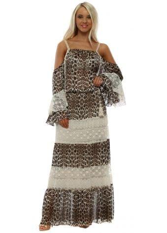 Leopard Print Tiered Lace Cold Shoulder Maxi Dress