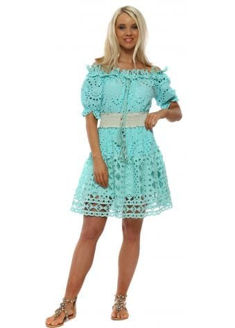 Turquoise Broderie Anglaise Bardot Dress
