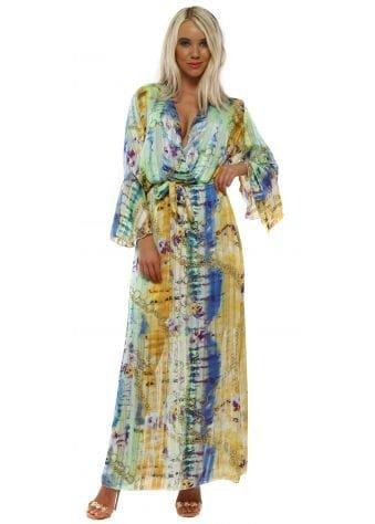 Yellow Tie Dye Chain Chiffon Maxi Dress